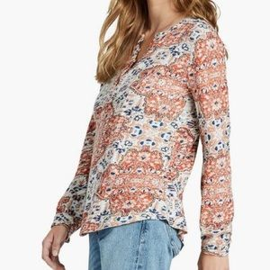 Lucky Brand Medallion Henley 3/4 Sleeve Shirt Top